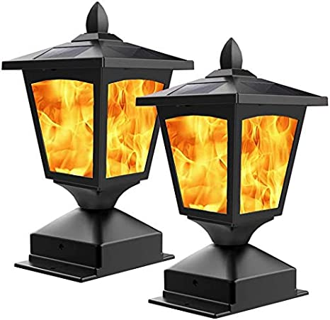 Solar Power Flame Wall LED Light Outdoor Garden Path Landscape Fence Yard Lamp