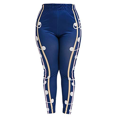 Ladies July 4Th High Waist Tight Yoga Pants Independence Day Flag Print Musical Notes Stretching XL Pants Tummy Control Yoga Pants XL/XXL/XXXL/XXXXL (Blue) (XL-2) ()