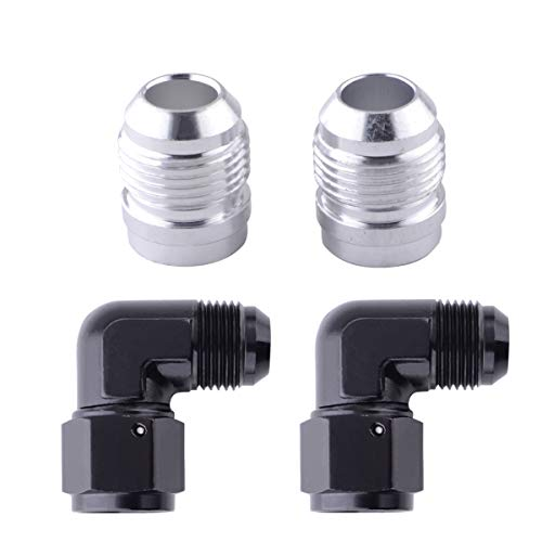 10AN Male Threads Weld Bung Fitting Hose Adapter,10AN Female to 10AN Male Swivel Fitting Anodized 90 Degree Union,4Pcs Aluminum AN Hose Connectors Set, Great for Fuel Tank, Oil Cooler, Valve Covers