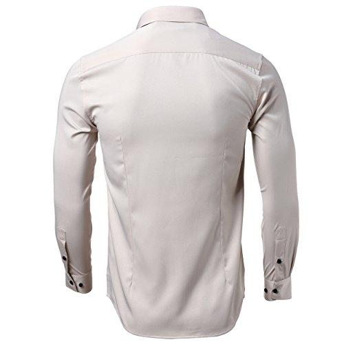 Bambù Camicia Business Classica Slim camicia Fit camicia Beige Casual Maniche A In camicia Uomo Da Fibra Di Kelasip Lunghe PdgqOP
