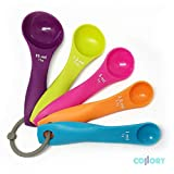 Collory  Plastic measuring spoon set of 5 Sizes for Baking, Cooking, Multi-Colour, Dosing spoon (ml,g)