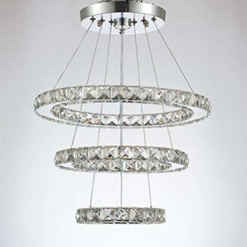 Dixun Modern Crystal Chandeliers LED Chandelier Pendant Lights Chandelier Rings Pendant Light 20/30/40cm(8/12/16 inches)(Cool White 20/30/40) by Dixun