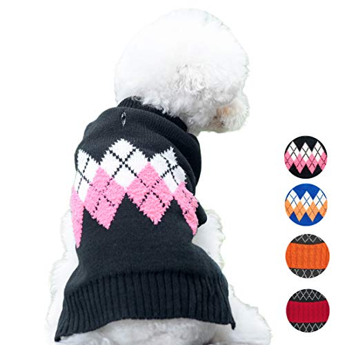azuza Dog Sweater Dog Knit Pullover Fall Winter Warm Back Length 12 for Small Dogs Pink Color Classic Stripe