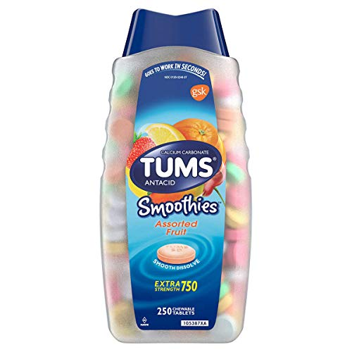 TUMS Smoothies Assorted Fruit Extra Strength Antacid Chewable Tablets for Heartburn Relief, Family Size ONE PACK ( 250 count )