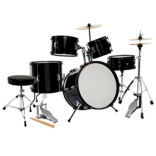 LAGRIMA Black Full Size 5 Piece Complete Adult Drum Set Cymb