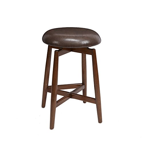 Dodie Modern Wood Swivel Barstool with Round Cushion, 24