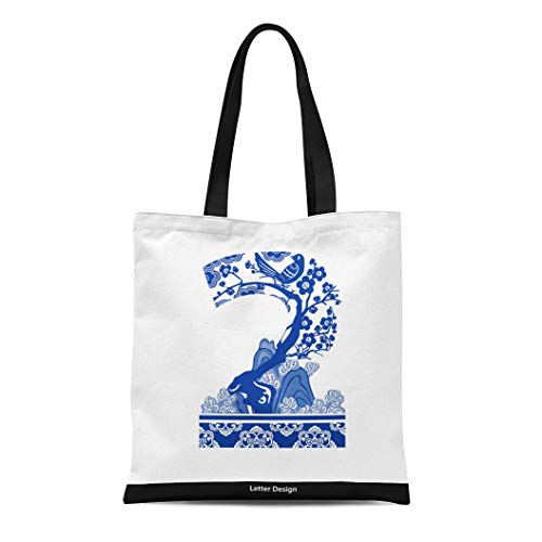 Semtomn Canvas Tote Bag Shoulder Bags Word Letter of Oriental Number Two Traditional Chinese Cloud Women's Handle Shoulder Tote Shopper Handbag