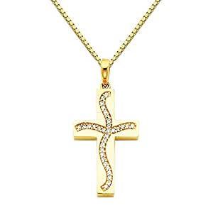 """14k Yellow Gold CZ Religious Cross Pendant with 1mm Box Link Chain Necklace - 16"""""""