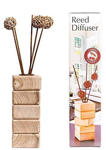 AROMCOM Decorative Reed Diffuser vase, made from natural walnut wood for home decor accents and office decor accents. 100% French Perfume composition, bottle 125 ml of Cherry Fragrance
