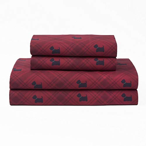 Charming Dog Print (4 Piece Dark Red Black Color Westie Dog Plaid Sheets Full Set, Red Multi Animal Print Gingham Lumberjack Checkered, Glen Check Crossing Lines Novelty Charming Bedding Master Bedroom, Polyester)