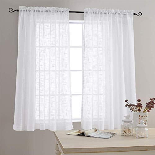 Linen Textured Sheer Window Curtains for Bedroom 63 inches Long White Sheer Curtain for Living Room Drapes Rod Pocket 2 Panels
