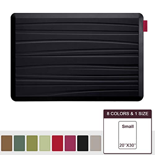 (NUVA Premium Anti Fatigue Standing Floor Mat 30 x 20 in, NO PVC!!! 100% PU Comfort Ergonomic Material, 4 Non-slip PU Elastomer Strips on Bottom, 5 Safety Test by SGS (Black, Beach Pattern))
