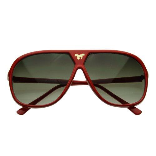 zeroUV - Large Retro Stunner Plastic Aviator Sunglasses w/ Mustang Horse Logo - Sunglasses Aviator Logo