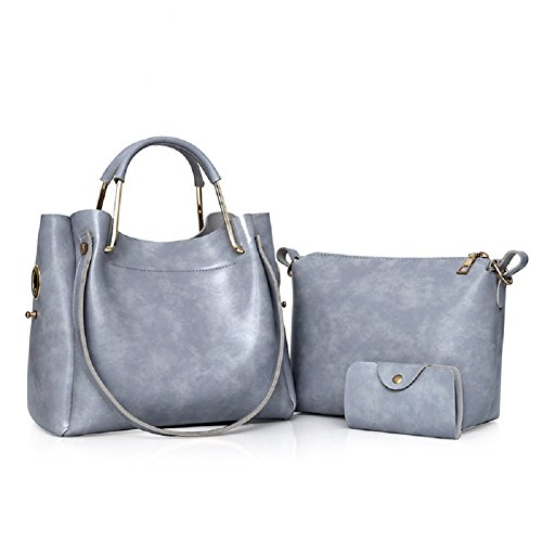 Fuweiencore Retro Bag Ladies Solid Three-piece Shoulder Bag (color: Gray Size: One Size) Color Gray