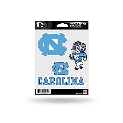 Rico Industries NCAA North Carolina Tar Heels Die Cut 3-Piece Triple Spirit Sticker Sheet