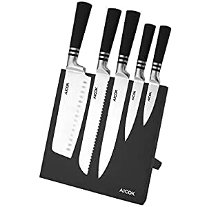 Aicok Knife Set and Magnetic Knife Holder, 6 Pieces, High Carbon Stainless Steel Knife Block Set with Magnetic Knife Stand, Black