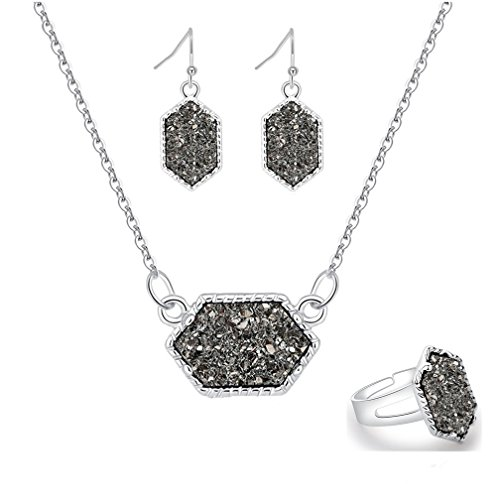 MissNity Grey Colorful Faux Druzy Jewelry Set Drusy Necklace Dangle Earring Ring Silver Plated Hexagon Pendant (Gray) ()