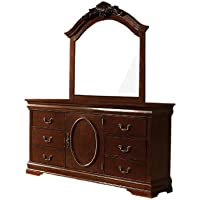 Furniture of America Ashburia English Style Dresser and Mirror Set, Warm Cherry Finish