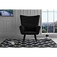 Mid-Century Modern Velvet Accent Armchair, Futuristic Style Living Room Chair (Black)