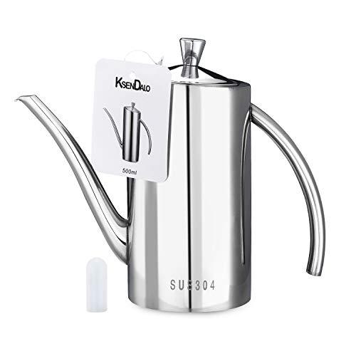 Oil Dispenser, KSENDALO 0.5 Quart/17Oz Olive Oil Can Drizzler Cruet Bottle Dispenser with Drip-Free Spout, 304 Stainless Steel 500ML Olive Oil Dispenser, Silver