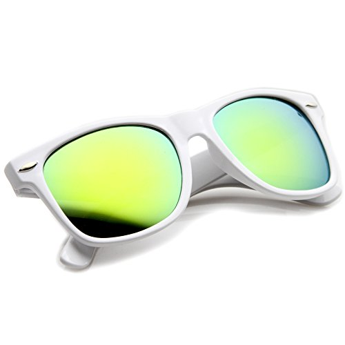 zeroUV - Hipster Fashion Flash Color Mirror Lens Horn Rimmed Style Sunglasses