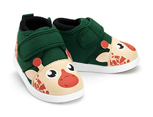 ikiki Giraffe Squeaky Shoes for Toddlers w/Adjustable Squeaker Green Girl or Boy Shoes (Size 11, Gina Jenkins)