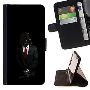 BullDog Case - FOR/Apple Iphone 6 / - / Darth Anonymous Rebel Lord /- Monedero de cuero de la PU Llevar cubierta de la caja con el ID Credit Card Slots Flip funda de cuer