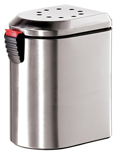 Oggi 7289.0 Deluxe Stainless Steel Countertop Compost Pail with EZ-Open Lid and Charcoal Filter (Steel Stainless Composter Keeper)