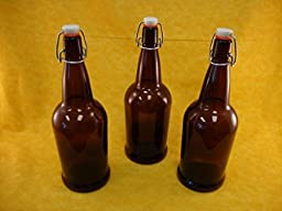 1 Liter (33 oz) Amber Flip Top Bottles Case of 12 Bottles
