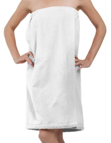 Terry Cotton Velour Bath Wrap, Shower Wrap For Ladies, White, One Size