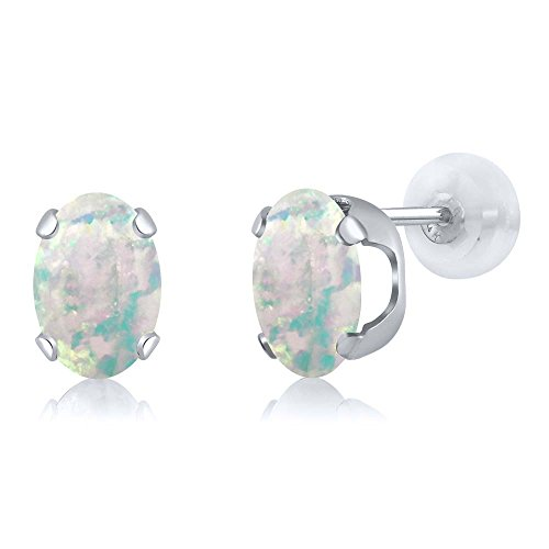 Gem Stone King 2.10 Ct Oval Cabochon 8x6mm White Simulated Opal 14K White Gold Stud Earrings