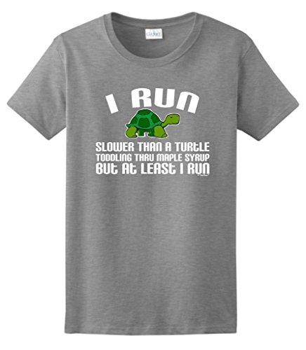I Run, Slower Than a Turtle, But I Run Ladies T-Shirt 3XL Sport Grey