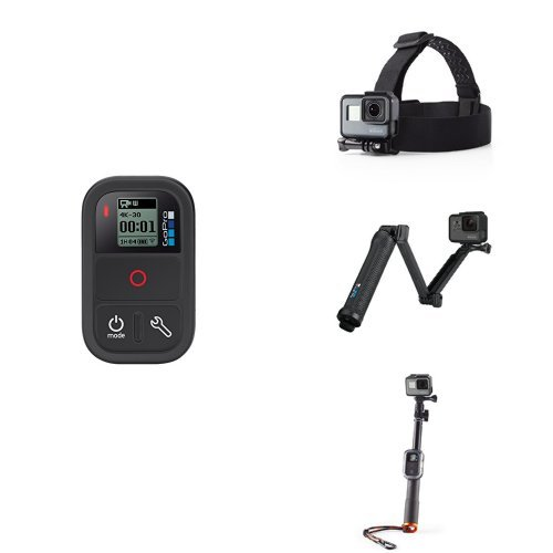 GoPro Accessory Bundle w/ Remote, Head Strap, 3-Way Grip and Selfie Stick by