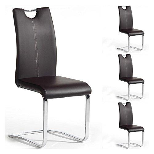 Esszimmerstuhl Schwingstuhl SABA, Set mit 4 Stühlen, chrom/braun