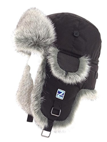 Cozy Z Winter Taslon Faux Fur Aviator Hat Size L/XL Color Black/Grey