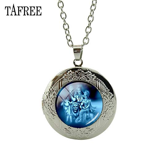 Pendant Necklaces - Hindu God Lord Shiva Locket Necklace Dance of Destruction Pendant Necklace Hindu Believer Spiritual Amulet Necklace LS29 - by Mct12-1 PCs