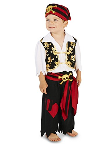 Pirates Costumes For Toddlers (Skull Print Vest with Patched Pants Pirate Toddler Dress Up Costume 2-4T)