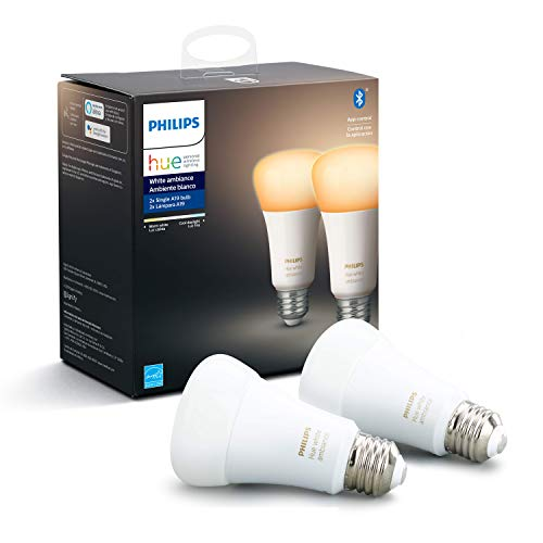 Philips Hue White Ambiance 2-Pack A19 LED Smart Bulb, Bluetooth & Zigbee compatible (Hue Hub Optional),Works with Alexa & Google Assistant - A Certified for Humans Device