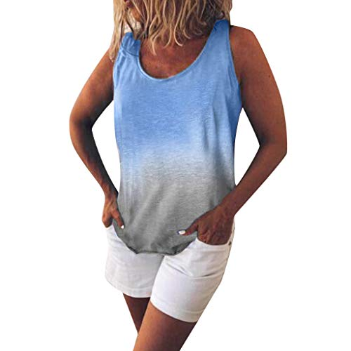 POQOQ Women's Fashion Casual O-Neck Gradient Contrast Color Sleeveless Vest Top(Blue,S)]()