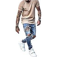 DEITP Men's Distressed Destroyed Ripped Slim Fit Skinny Stretch Denim Jeans