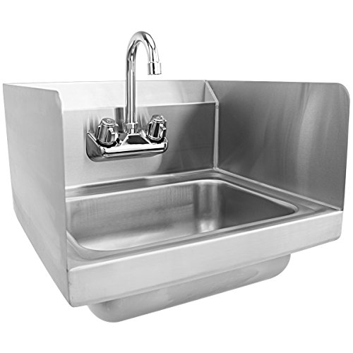 Giantex Stainless Steel Hand Washing Sink with Wall Mount Faucet & Side Splashes NSF Commercial Kitchen Heavy Duty Hot & Cold Temperature Water Inlet Washing Basin, Silver by Giantex (Image #1)