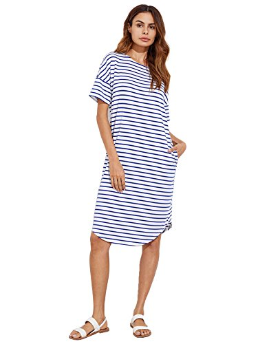 Floerns Women's Short Sleeve Drop Shoulder Pocket T Shirt Dress Blue and White S