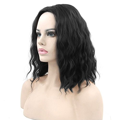 S-ssoy Wigs Women's New Fashion Glamorous Short Wavy Curly Anime Harajuku Full Hair Wig Hairpiece for Girl Lady Women Halloween Cosply Costume Party Daily Use,Black