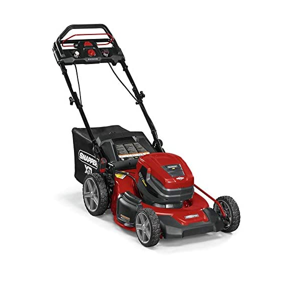 Snapper XD 82V MAX Step Sense Cordless Electric 19-Inch Lawn Mower Kit with (2) 2.0 Batteries and (1) Rapid Charger 2 StepSense Automatic Drive System : Intelligently adjusts to your mowing speed for easy operating pace Dual battery power head : houses two batteries to provide additional run time of up to 60 minutes** Intelligent load sensing technology : allows for optimum power levels while you mow for maximum efficiency