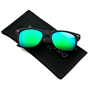 WearMe Pro - Premium Polarized Wayfarer Style Glasses Matte Frame Mirrored Lens Sunglasses