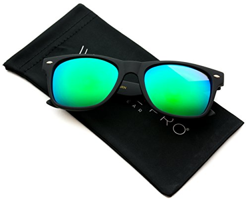 WearMe Pro - Premium Polarized Wayfarer Style Glasses Matte Frame Mirrored Lens - Lenses With Sunglasses Mirrored