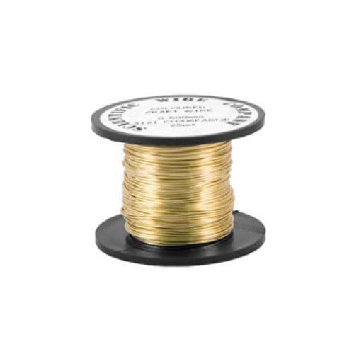 1 x Pale Gold Round Copper Craft Wire 6 Metre x 0.8mm Coil - (WG080) - Charming Beads Something Crafty Ltd