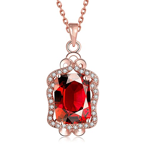 SDLM Luxury Clear Square Gem Jewelry Princess Fashion Bib Pendant Necklace(red)