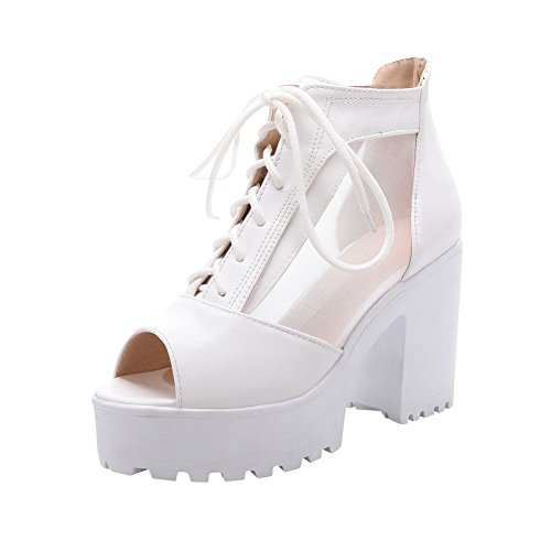 Carol Shoes Elegance Women's Fashion Lace-up Peep-Toe Sweet Voile Mesh Platform High Chunky Heel Summer Boots (10, White)