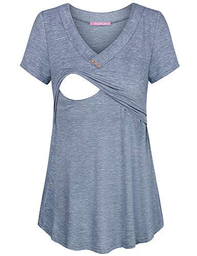 JOYMOM Womens V Neck Short Sleeve Nursing Tops Maternity Breastfeeding Shirts S-2XL